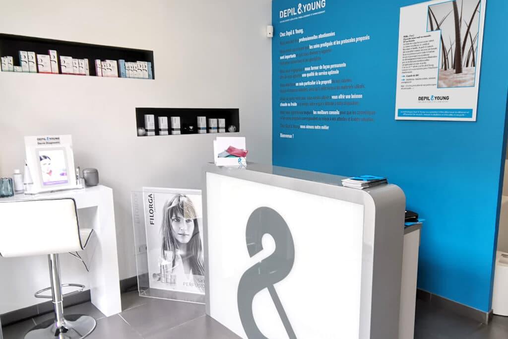 Espace d'accueil du Centre Expert Depil&Young de Valence